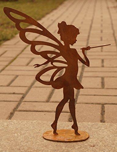 Edelrost Fee Sina mit Zauberstab Gartendekoration Metall Fabelwesen Elfe