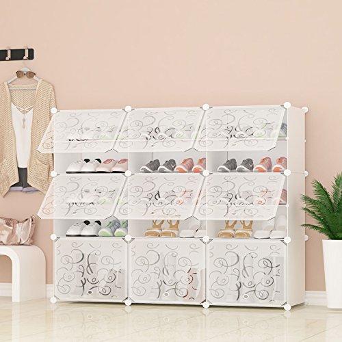 PREMAG Portable Shoe Storage Organizer Tower, Weiß mit Transparenten Türen, Modular Cabinet Regale...