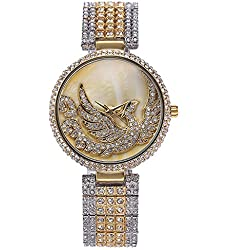 Sheli Women's Two Tone Silver and Gold Designer Unique Stainless Steel Watch