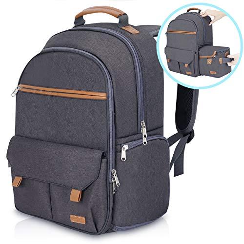 Endurax Wasserdichter Kamera-Rucksack für Damen und Herren, passend für 39,6 cm (15,6 Zoll) Laptops mit integrierter DSLR-Schultertasche, Dunkelgrau