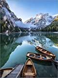 Stampa su Tela 90 x 120 cm: Early Morning on Lake Braies - Dolomite Alps Italy di Achim Thomae - Poster Pronti, Foto su Telaio, Foto su Vera Tela, Stampa su Tela