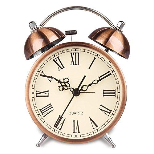 Hense geräuschlose Weckuhr für den Nachttisch Von Batterie angetrieben Nacht-Licht Lauter Alarm Uhren in Farbe von hellem Kupfer Kein Ticken Zifferblatt von verschiedenen Größen HA41 (4.5