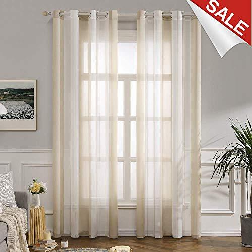MIULEE Voile Vorhang Transparente Gardine aus Voile mit Ösen Schlaufenschal Ösenschals Transparent Fensterschal Wohnzimmer Schlafzimmer 2er Set 140 * 225 cm Weiß + Beige