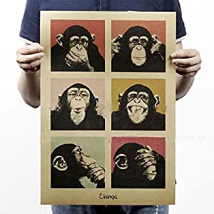 Kicode Poster da parete di Gorilla Retro stile dell'annata Carta Craft Home Dedroom Bar Pub Decor Regali Art
