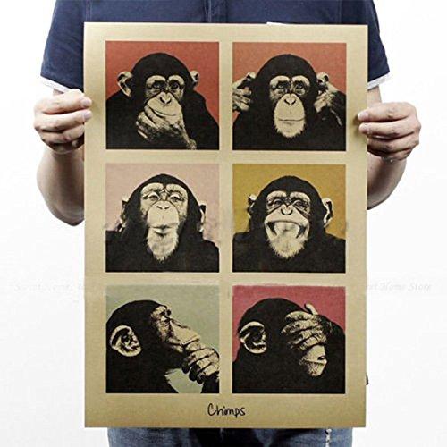 Kicode Cartel de la pared del gorila Estilo retro de la vendimia Papel del arte Inicio Dedroom Bar Pub Decor Regalos Arte