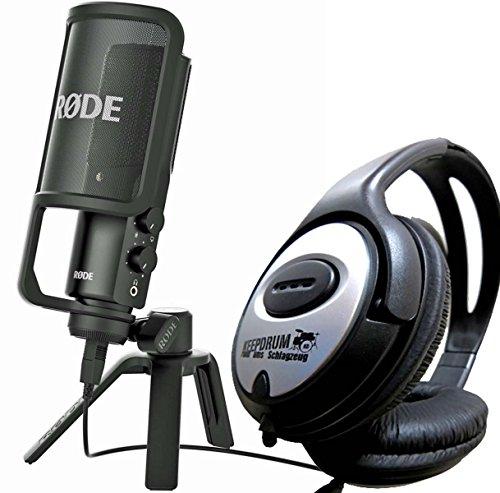 Rode, microfono NT-USB condensatore, con treppiede e protezione pop + cuffie Keepdrum incluse