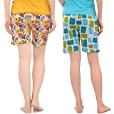 Zebu Women's Cotton Printed Shorts (2ZW_SSS_PRI_SBL_GYL_M, Medium) - Pack of 2