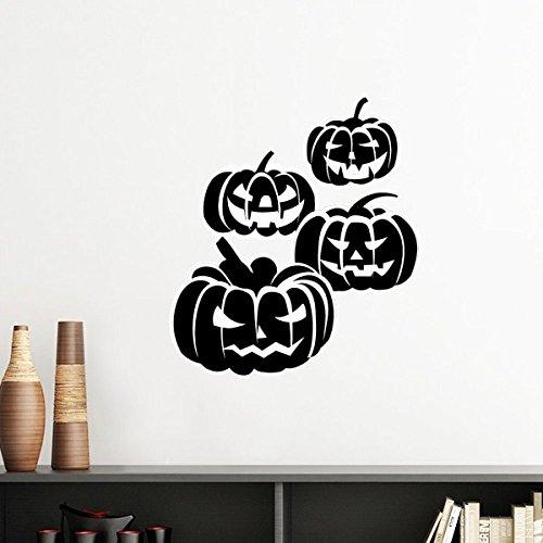 DIYthinker Vier Schwarze Halloween Kürbisse Silhouette-Wand-Aufkleber-Kunst-Abziehbilder Wand-DIY Tapete Für Zimmer Aufkleber Removable 50Cm Weiß (Silhouetten Halloween Kürbis)