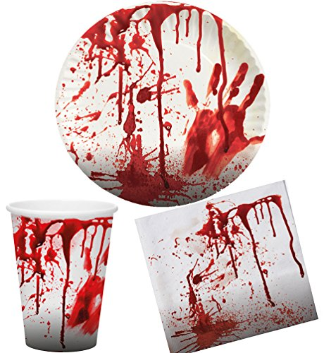 Blutiges Party Set Halloween Horror Blut 36 Teile Teller, Becher, Servietten, (Party Geschirr Halloween)