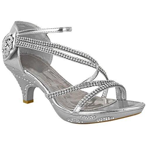 Sandales/escarpins à petit talon - brides avec brillants/strass - mariage/soirée Métallique argenté / soirée