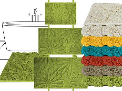 die extra Streicheleinheit für Ihre Füße - Badteppich Motiv Blume - klassisch + modern + universell einsetzbar - erhältlich in 6 topp aktuellen Farben und 3 verschiedenen Größen, 60 x 100 cm, limone (6 Moos Teppich)