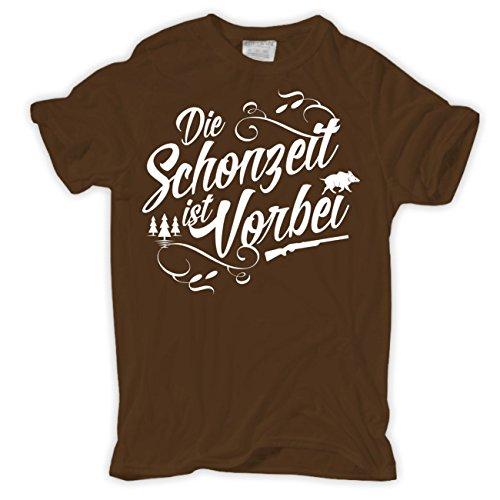 Männer und Herren T-Shirt Die Schonzeit ist vorbei (mit Rückendruck) Braun