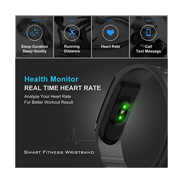 Fitness Tracker, Ritmo cardíaco inteligente actividad pulsera HR podómetro calorías deslizar pantalla táctil de… 2