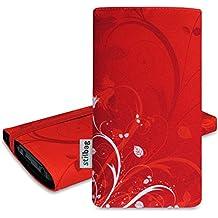 Pochette stilbag 'Mika' pour HTC One M8S–Design: Fleurs Rouge