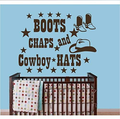 Raumzubehör Hause Vinyl Wandtattoos Zitate Stiefel Chaps Und Cowboy Hut Aufkleber Boy Room Sticker Decor, 57X72Cm (Cowboy-hut Und Stiefel)
