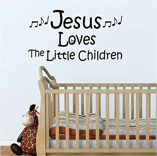 "jeyfel Aufkleber: Vinyl Wand Decor Aufkleber Aufkleber. Christian. Jesus Loves The Little Kinder. 22\"" W x 12\"" H Orange"