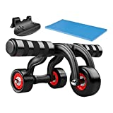 Tekbox 3 Wheel Abdominal Fitness Training Equipment Ab Muscle Trainer Home Workout Core Strength Training System Gym Exercise Six Pac Knee Pad Mat Suitable For 200KG Max Load