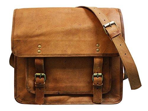 Komfortable und robuste Ziegenleder Umhängetasche Laptoptasche PETER im Vintage Stil 36x33x13cm (Vintage Schulter Tasche Klassische)
