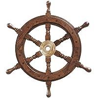 Nostalgisches Schiffs Steuerrad Holz Messing Maritim 42cm
