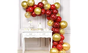 PartyWoo Red Gold Balloons, 50 pcs Balloon Pack of Maroon Balloons Ruby Red Balloons Gold Metallic Balloons Gold Confetti Balloons, Helium Balloons Party Decorations, Chinese Party Decorations