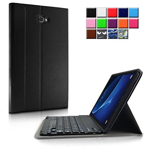 Infiland Samsung Galaxy Tab A 10.1 Slim Bluetooth Tastatur Hülle- Ultradünn leicht SmartShell Ständer Schutzhülle mit magnetisch abnehmbar drahtloser Bluetooth Tastatur für Samsung Galaxy Tab A 10.1 Zoll Wi-Fi/ LTE (2016) SM-T580N/SM-T585N Tablet-PC(QWERTZ Tastatur,Schwarz)