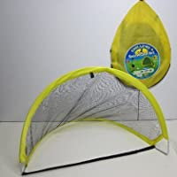 Set of 2 Pop Up Folding Kids Football Goals in Carry Bag With Pump & Goal For Beach or Garden
