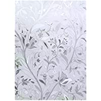 """EASEHOME Self Adhesive Window Film, 3D Frosted Glass Window Sticker Privacy Vinyl Window Blinds Decorative Opaque Static Cling Anti-UV 17.7""""x78.7""""(45x200cm), Tulip Flower Pattern"""