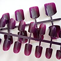 EchiQ Fashion Candy Fake Nails Dark Purple Artificial False Nails Full Wrap Nail Tips Carnival Style DIY Tool
