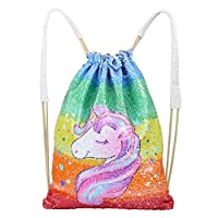 ICOSY DrCosy Mermaid Sequins Bag Drawstring Sequin Backpack Glitter Mermaid Backpacks Magic Dance Bags for Kids Adults (35X45cm, Colorful Wave/Silver)