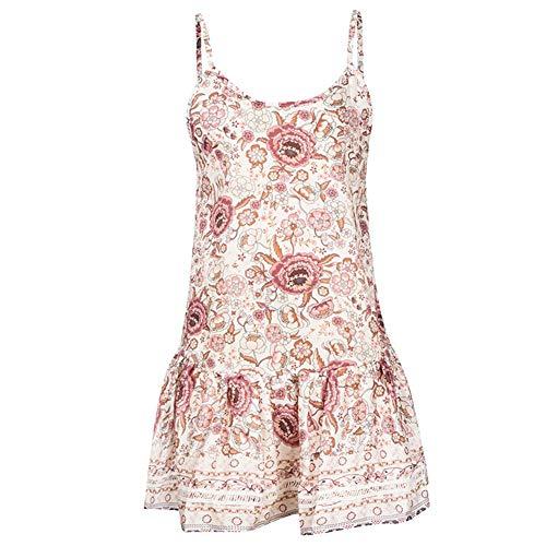 Damen Kleider mit V-Ausschnitt, A-Linie Rückenfreies Kurzes Kleid, ärmelloser Offener Rücken Böhmischer Großer Swing-Rock(M-Beige)