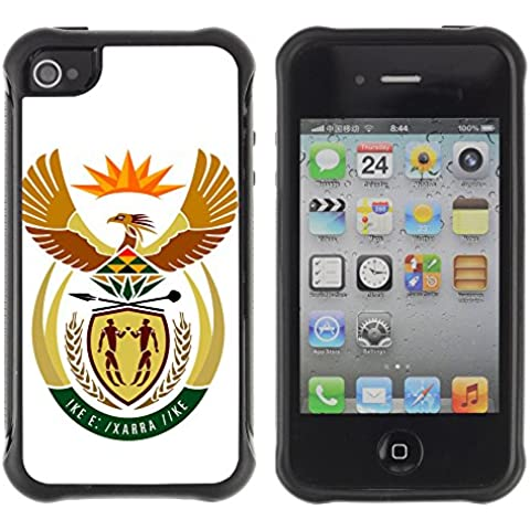 Be-Star Modello Unico Anti-Skid Impact Ibrida Della Copertura Della Cassa Case Antiurto Per Apple iPhone 4 / iPhone 4S ( South Africa Coat of Arms )