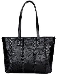 Felice Large Slouchy Soft Leather Women Handbag Braided Tote Shoulder Bag Hobo Satchel (Black)