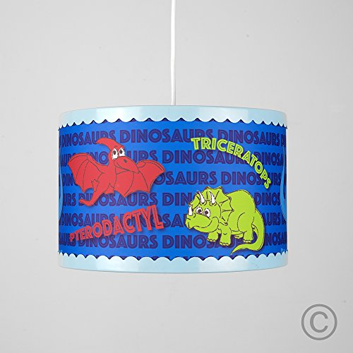 Image of Cool Children's Blue, Green And Red Colourful Dinosaur Cylinder Ceiling Pendant Drum Light Shade