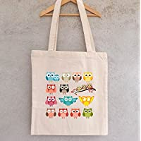 "Tote Bag ""Bande de Hiboux"" - sac shopping - sac coton - sac bandoulière - sac de filles - hiboux - chouettes"