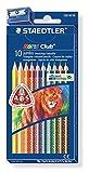 Staedtler Noris Club jumbo 128 NC10 Buntstifte, erhöhte Bruchfestigkeit, dreikant, Set mit 10 brillanten Farben