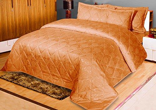Love2Sleep Jacquard 5PCS Multi gesteppt, Uni Tagesdecke/Bettüberwurf Tröster mit 2Kissenhüllen je & 2Gratis Kissen: 240x 220cm für Doppelbett/King Size: Gold