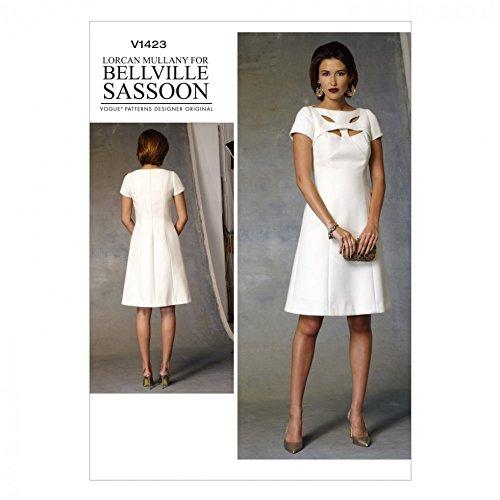 Vogue Damen Schnittmuster 1423- gefüttert Kleid mit Cutwork Detail