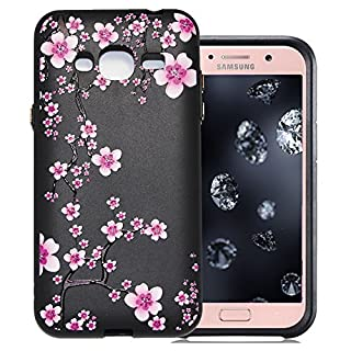 Aeeque Silicone Case for Samsung Galaxy J5 SM-J500 2015 5.0 inch, Black Ultra Thin Lightweight Soft Crystal Flexible Back Rubber Bumper Shockproof Protection Cover - Beautiful Plum Blossom