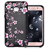 Aeeque Silicone Case for Samsung Galaxy J3 SM-J320 2016 5.0 inch, Black Ultra Thin Lightweight Soft Crystal Flexible Back Rubber Bumper Shockproof Protection Cover - Beautiful Plum Blossom
