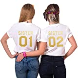Best Friends Sister T-Shirt mit Gold Aufdruck für Zwei Damen Mädchen Sommer Weiß Schwarz Oberteil Geburtstagsgeschenk 1 Stück (Weiß-02 (1 Stück), S)
