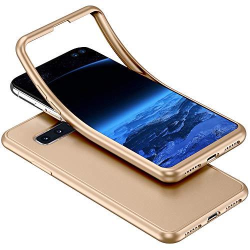 Herbests Kompatibel mit Samsung Galaxy S10 Plus Handyhülle 360 Grad Case Full Body Silikon Schutzhülle Double Side Cover Soft Case Hülle Beidseitiger Cover Vorne und Hinten Komplett Hülle,Gold Soft-side Case