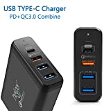 USB Type-C PD Charger, Helper 75W 4-Ports USB-C PD Smart Desktop Charger with Power Delivery for Apple MacBook Pro, Nintendo Switch and Quick Charge 3.0 for Note 8, iPhone X, S8/S8 Plus and More