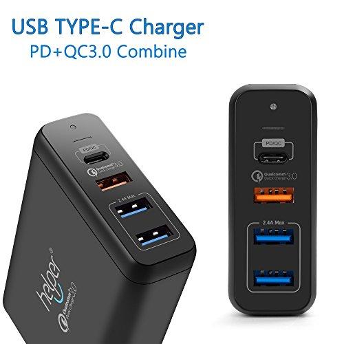 USB Typ-C PD 3.0 / QC 3.0 / 2.0, 4-Port 75W USB Ladegerät mit USB-C Stromversorgung, Schnellladung für Razer Blade Stealth , HP X360, Le2 eco phone Samsung A5 und Mehr (3 Stromversorgung Amp)