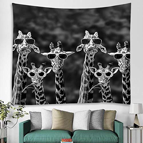 YogaFilmplakat Sonnenbrille Giraffe Art Series Hintergrund Dekoratives Stoffkissen Renovierung Männer Und Frauen Schlafzimmer Hängende Tuch-Mietzimmer Wohnzimmer Wandtuch Schlafsaal 150 Cm * 200 Cm