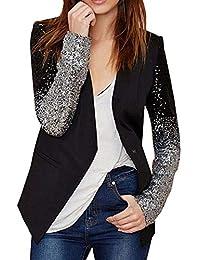 Damen Blazer OL Slim Langarm Jacke Pailletten Tops Kurze Strickjacke Bluse  Mantel Anzugjacke da22e021c2