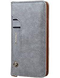 Harrms Handy Hülle Tasche iPhone 6/6S/6 Plus/6s Plus/7/8/7Plus/8Plus/iPhone X/Samsung Galaxy S7/S7 Edge/Note 8/S8/S8 Plus + mit Kredit Karten Fach Geldklammer Hülle Echt Leder Handy Schutzhülle von