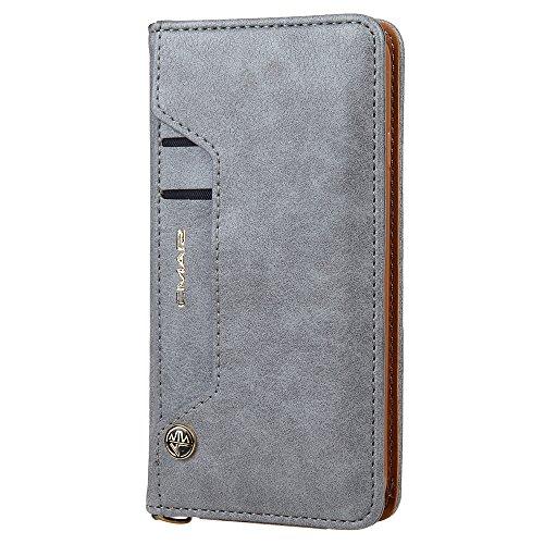 Harrms Handyhülle Handytasche Apple iPhone 6 Plus/6s Plus mit Kartenfach Kredit Karten Geldklammer Hülle Kunst Leder Handy Schutzhülle