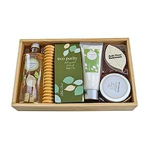 """Geschenk Wellness-Set """"Aloe Vera"""", in Holzbox mit Duschgel, Badesalz, Fizzer, Body Scrub – tolles Weihnachtsgeschenk"""