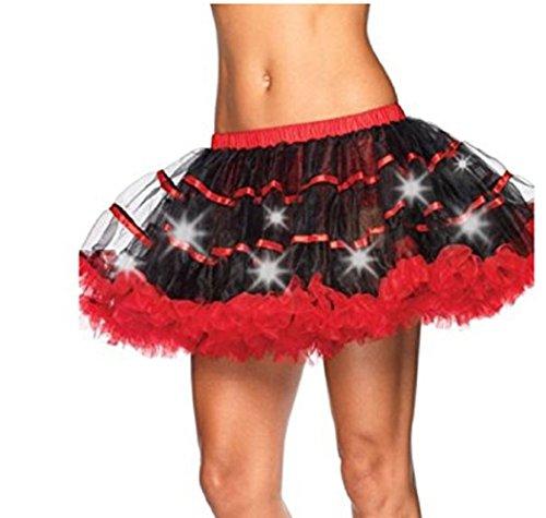 Damen Weihnachten Halloween Party Eine Linie Ballett Tütü Mini Rock mit LED Party Kurz Glam Gothic Vintage Petticoat Tanzkleid Ballett Licht Glam Gotik Tüll Tanz Rock (Einheitsgröße, Schwarz Rot)