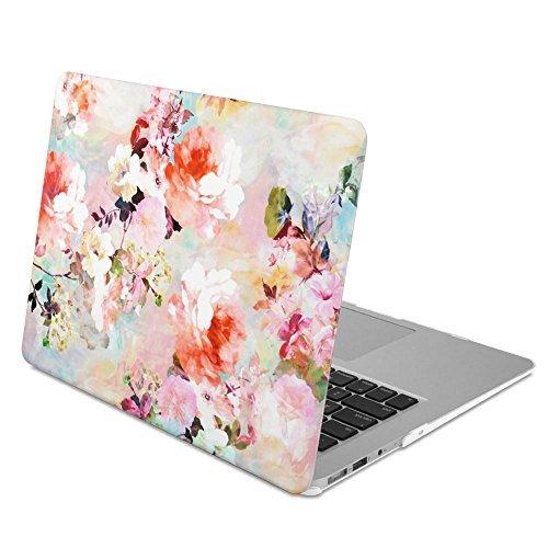 GMYLE MacBook Air 13 Hülle - Hochwertige Matt Gummierte Hartschale Tasche Schutzhülle Snap Case für Apple MacBook Air 13.3 Zoll (A1466 / A1369), Weinleseblume Pattern (Macbook 13 Zoll Air Case Speck)